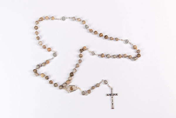 Picture of Job's tears rosary  with Međugorje soil medal - chain
