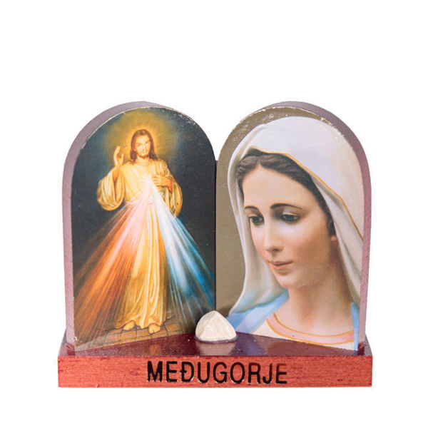 Picture of Međugorje Icon on a stand  with two pictures and stone