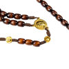 Picture of Wooden rosary with gold cross and Our Lady medal
