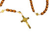Picture of Wooden rosary with gold cross and Saint Benedict medals