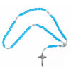 Picture of Wooden rosary with silver cross and Saint Benedict medals